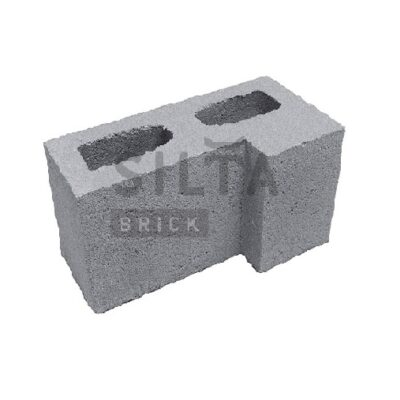 блок гладкий угловой серый